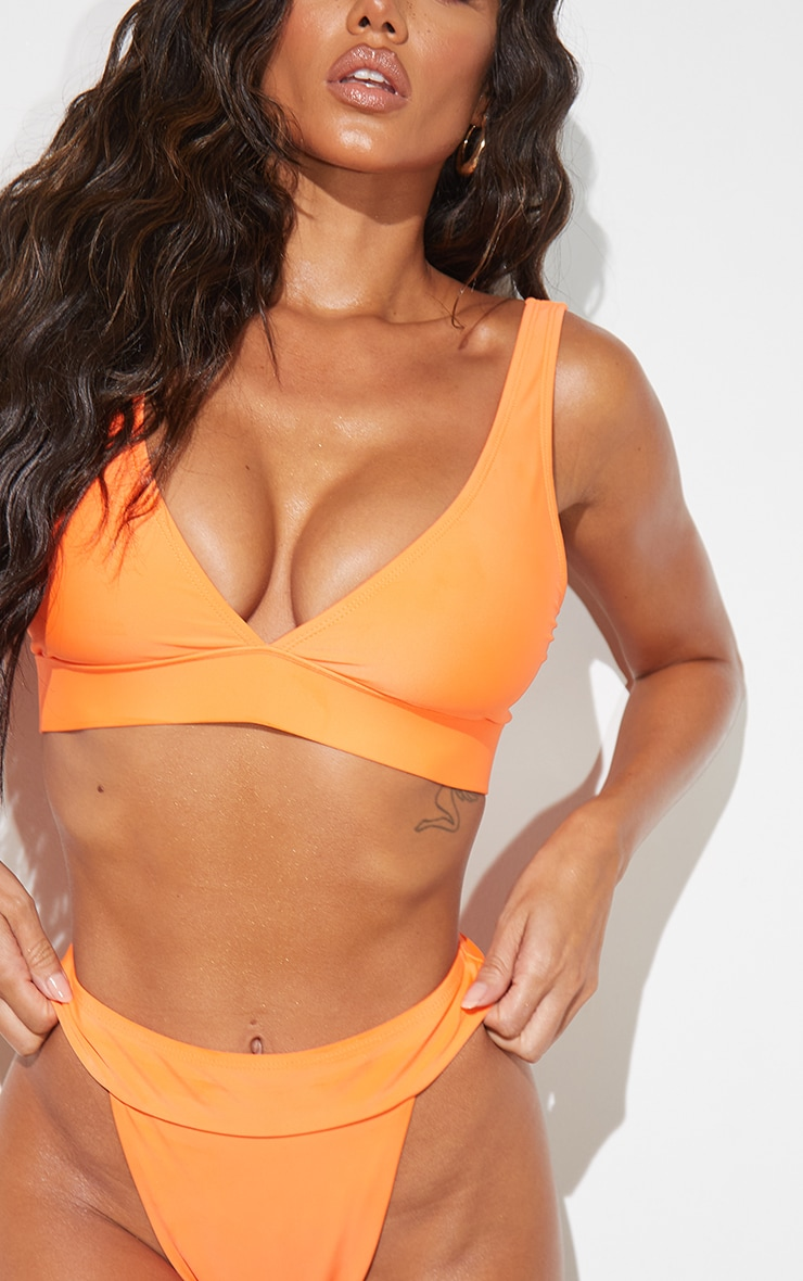 Recycled Orange Mix & Match Plunge Bikini Top 4