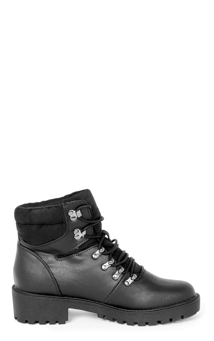Hannah Black Lace Up Hiker Boot 4