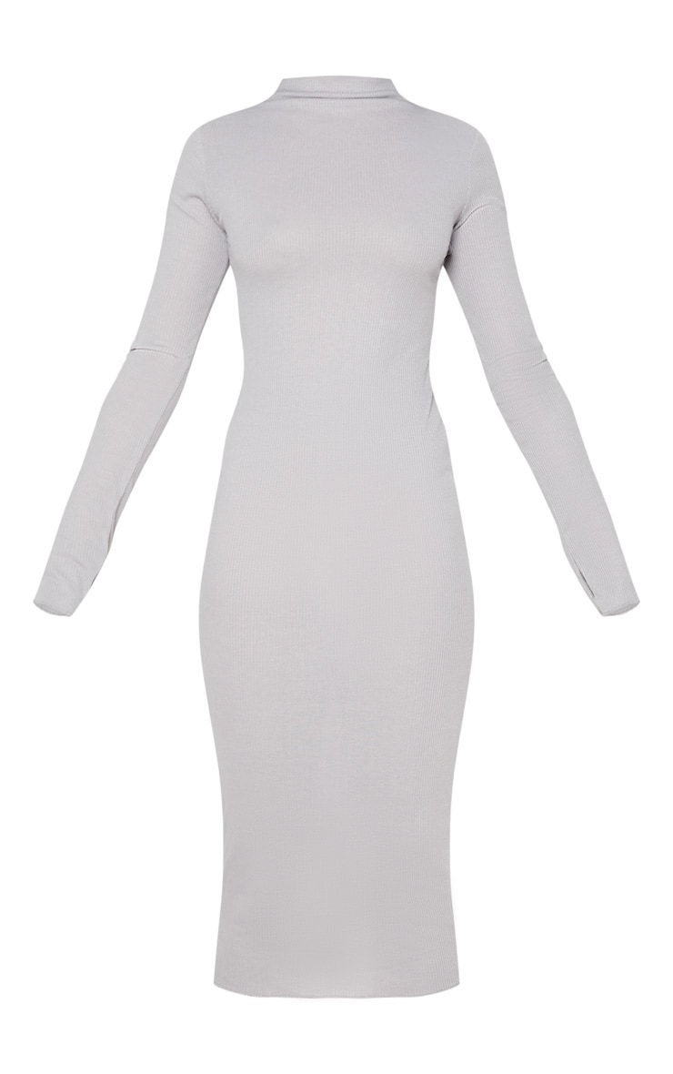 Charcoal Grey High Neck Thumb Hole Midi Dress 3