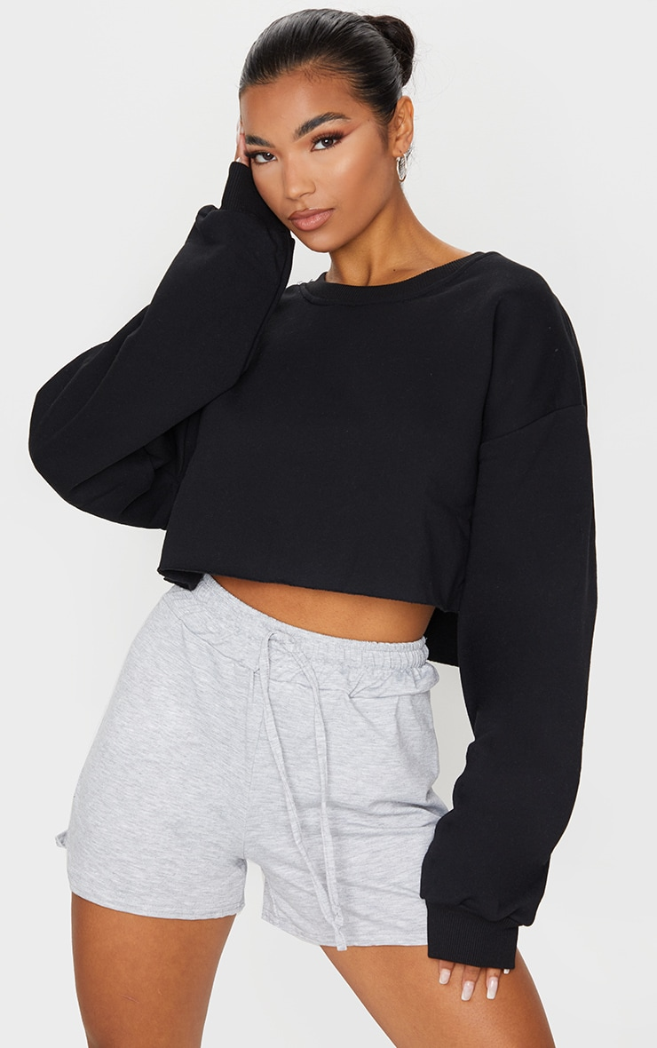 Black Ultimate Cropped Sweatshirt 1