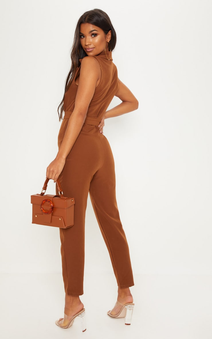 Brown Woven Collar Buckle Front Jumpsuit 2