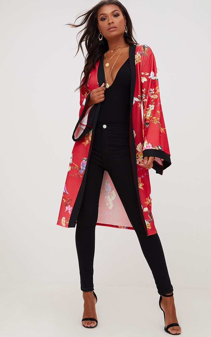 Red Oriental Belted Kimono Jacket 4