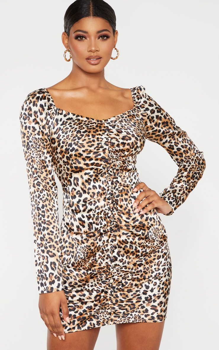 Tall Leopard Ruched Button Front Satin Dress 4