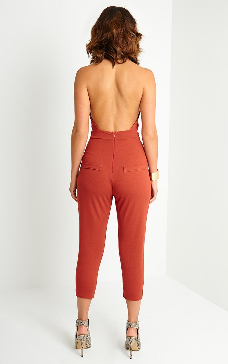 Nicki Rust Backless Jumpsuit 2