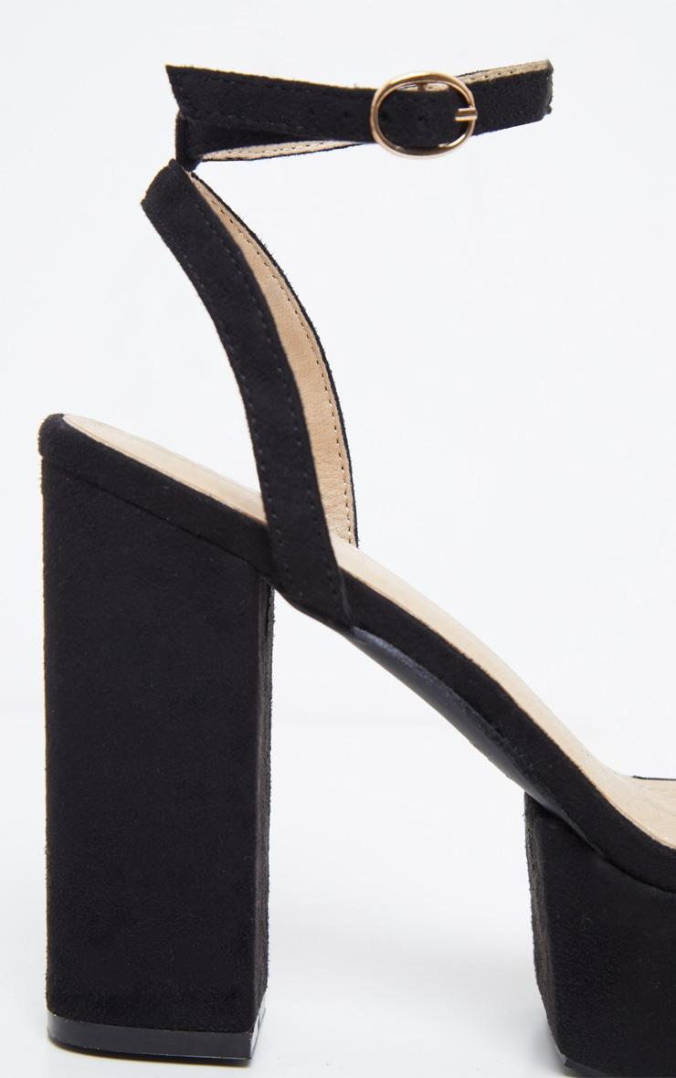 Black Square Toe Platform Sandal 4