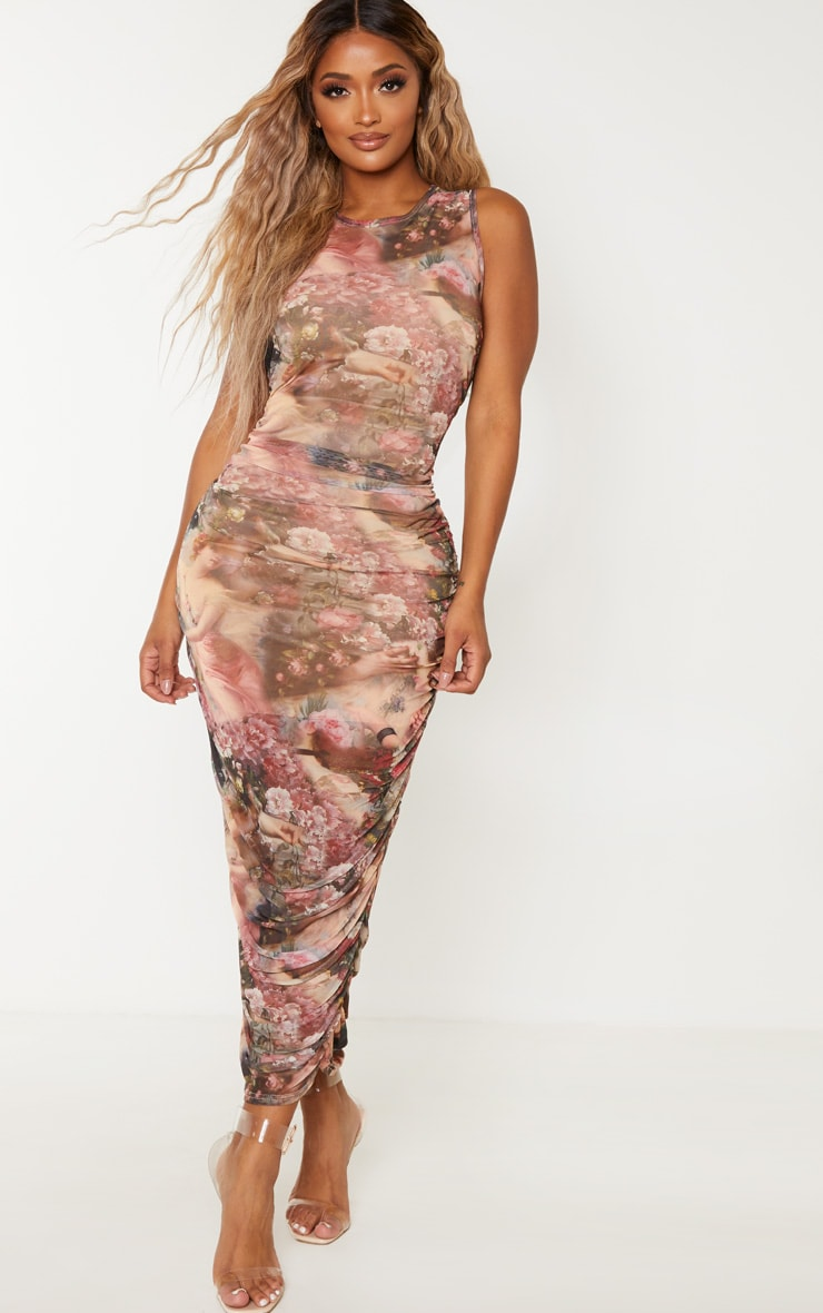Shape Nude Renaissance Print Sleeveless Midi Dress 1