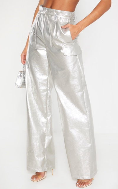 Silver Cracked Faux Leather Pocket Detail Wide Leg Trouser