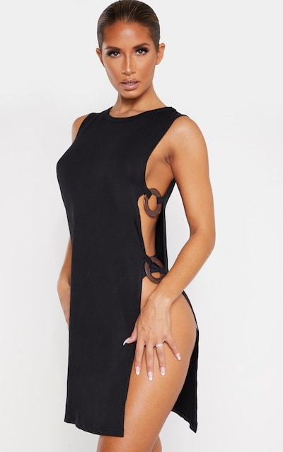 Black Tortoise Ring Cut Out Beach Dress