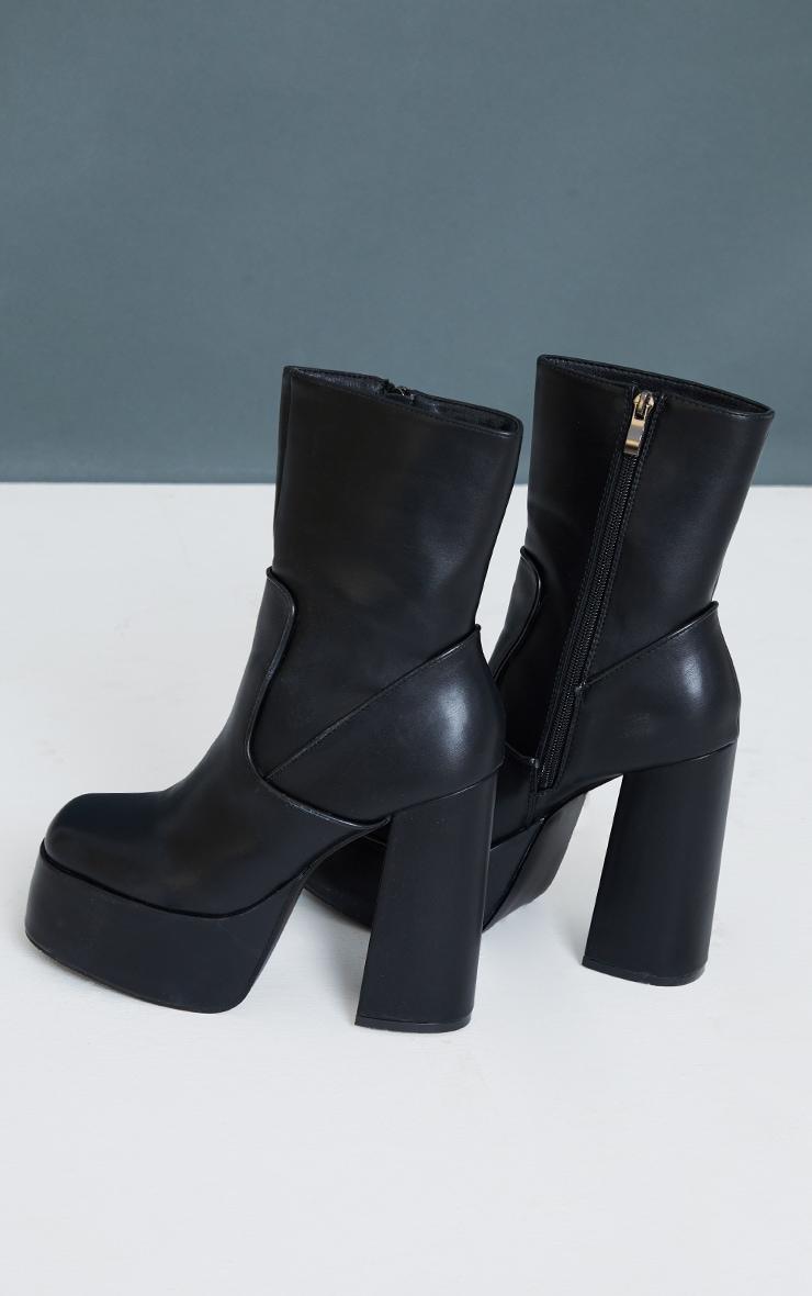 Black PU Curved Platform Heeled Boots 3