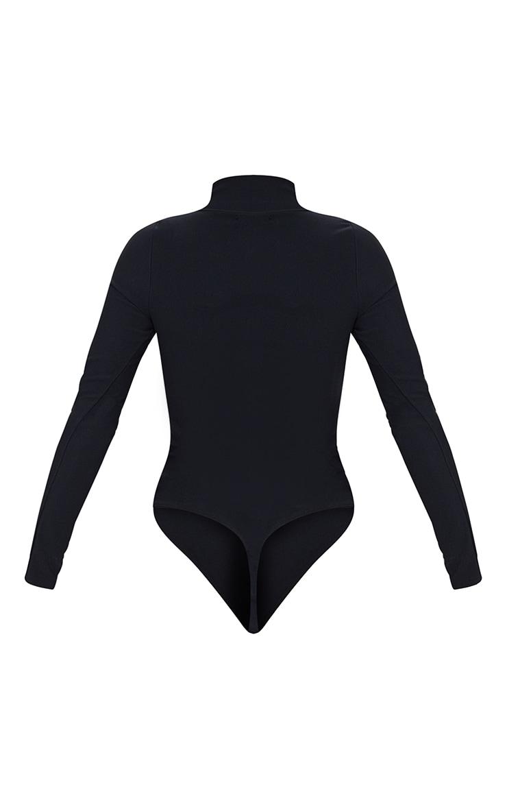 Black Bandage Zip Up High Neck Long Sleeve Bodysuit 6