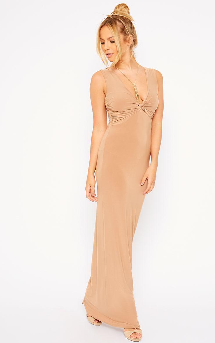 Zena Camel Knot Front Slinky Maxi Dress 3