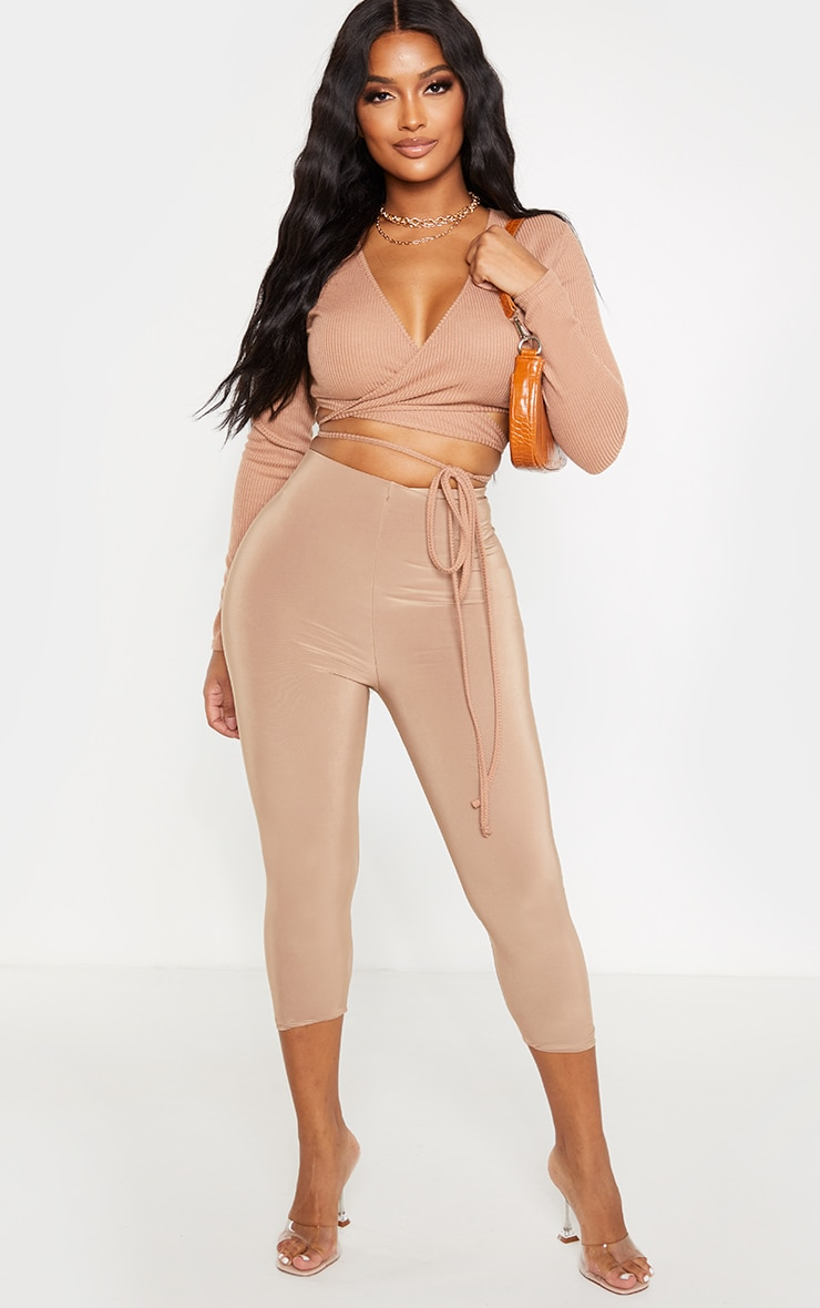 Shape Camel Ribbed Long Sleeve Wrap Waist Crop Top 4