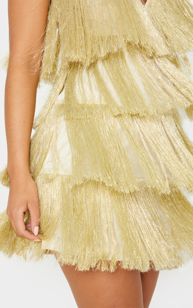 Gold Tassel Fringed Strappy Bodycon Dress 5