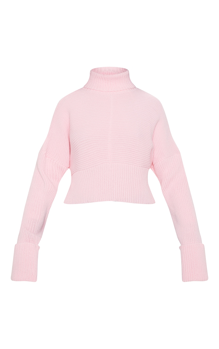 Pink Chunky Ribbed High Neck Knitted Jumper 3