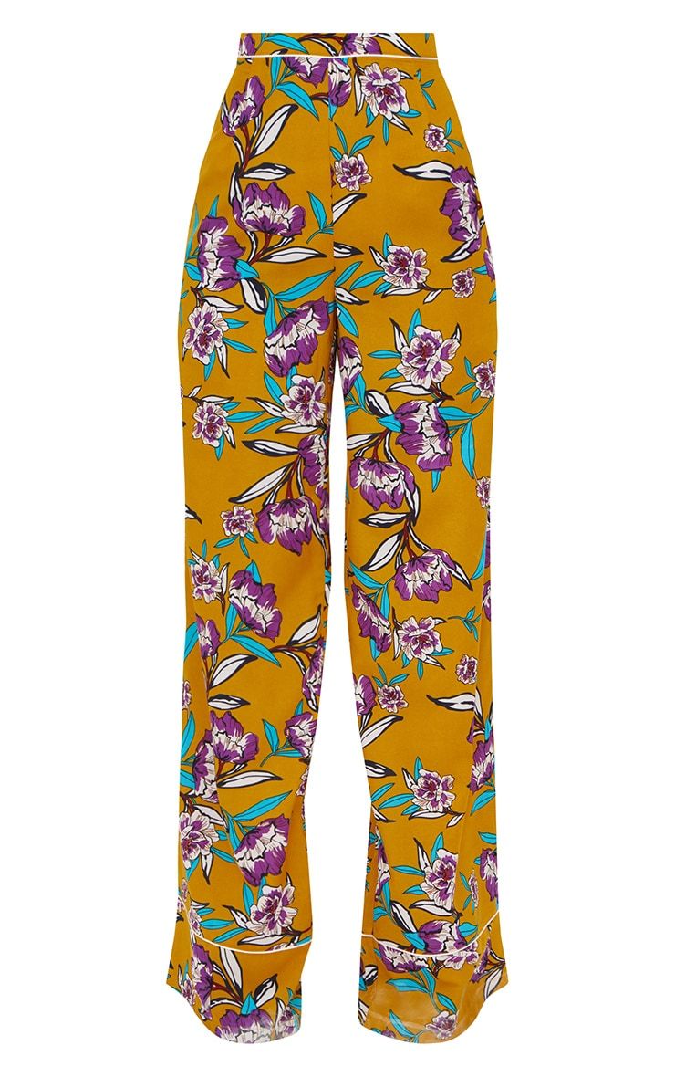 Mustard Contrast Piping Floral Wide Leg Trousers 3
