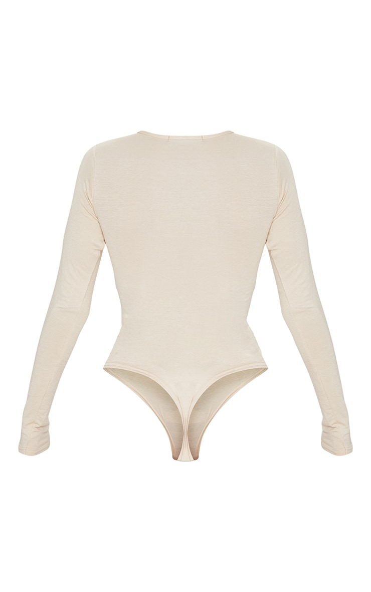 Basic Stone Crew Neck Long Sleeve Bodysuit 6