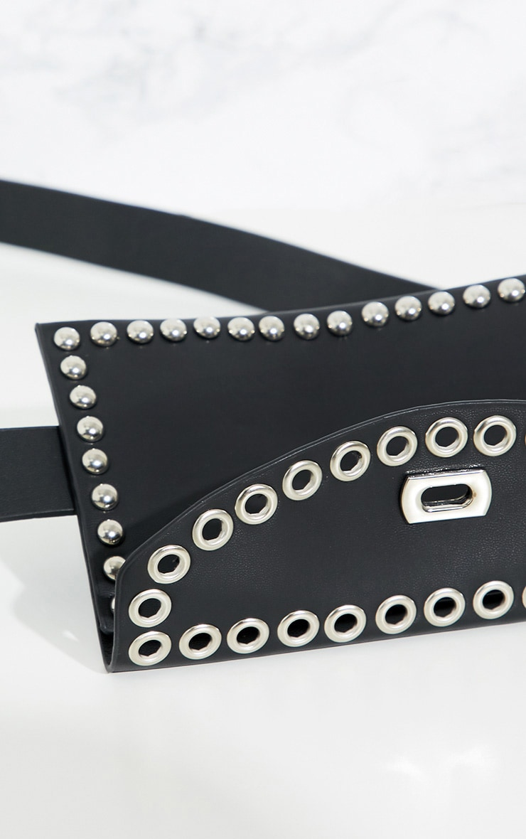 Black Studded Belted Bum Bag 5