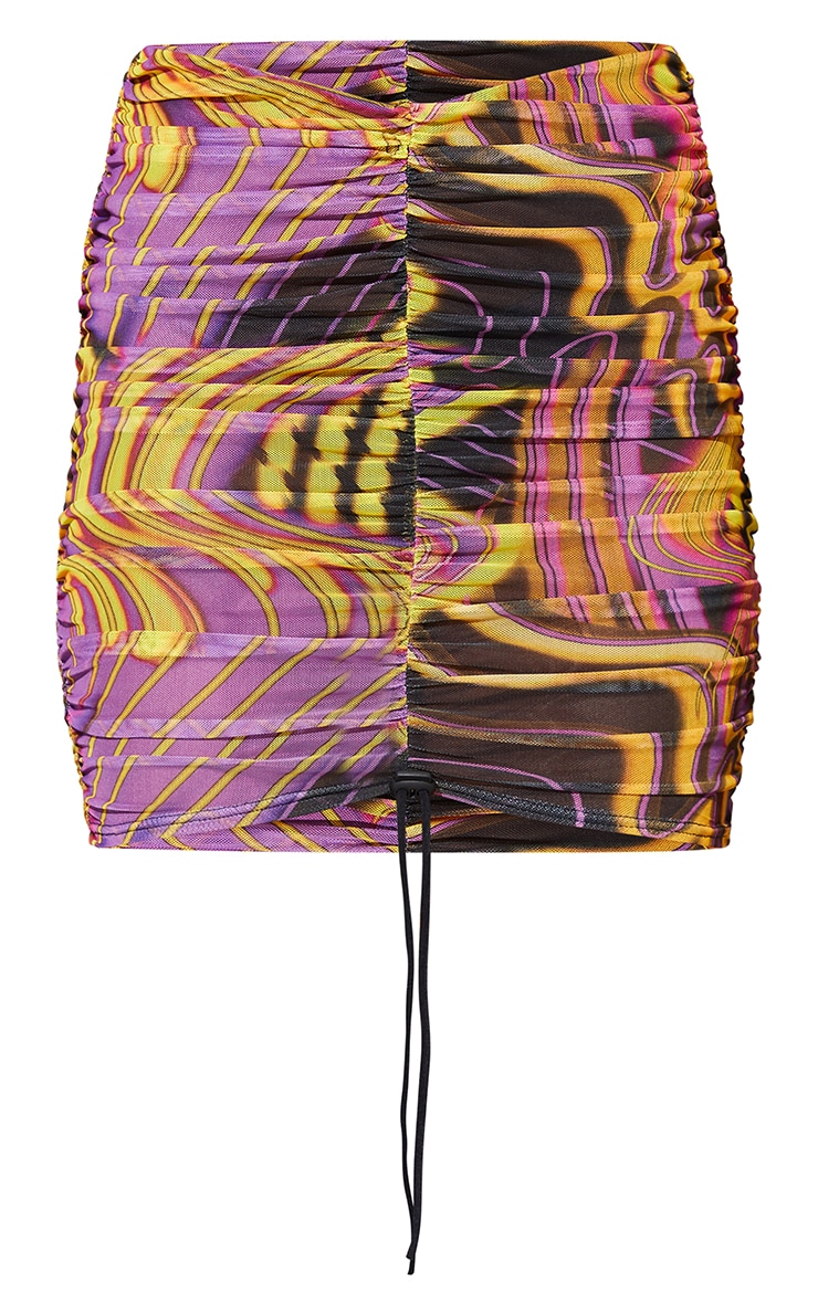 Purple Abstract Printed Mesh Dipped Waist Ruched Front Mini Skirt 6