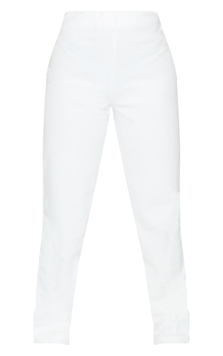 Petite Cream Towelling Rib High Waisted Flared Trousers 5