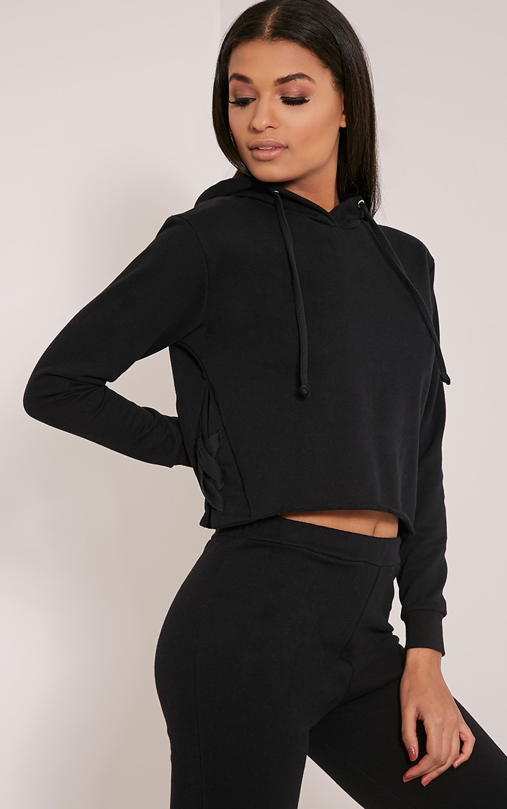 Pia Black Lace Up Side Cropped Sweater 4
