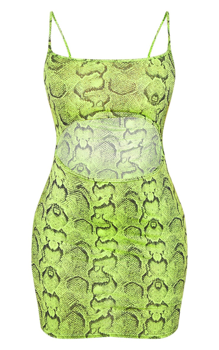 Lime Snake Print  Ribbed Strappy Cut Out Centre Bodycon Dress 3