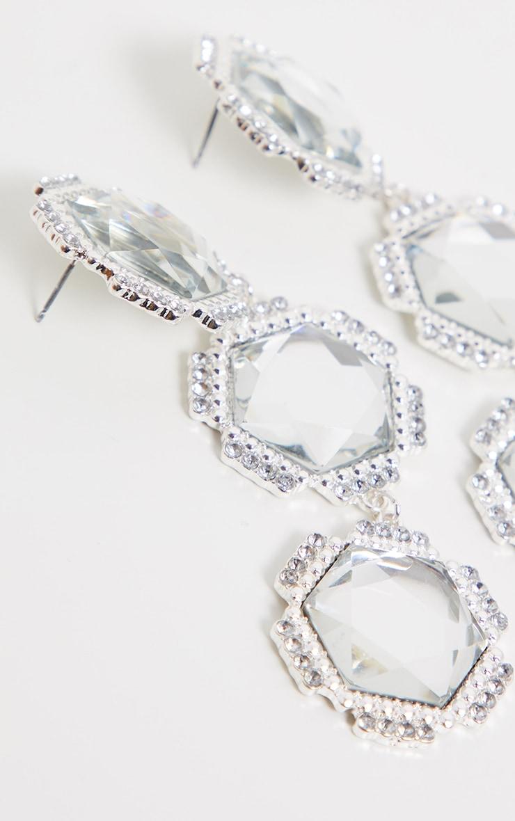 Silver Triple Hexagon Diamante Flower Statement Earrings 3