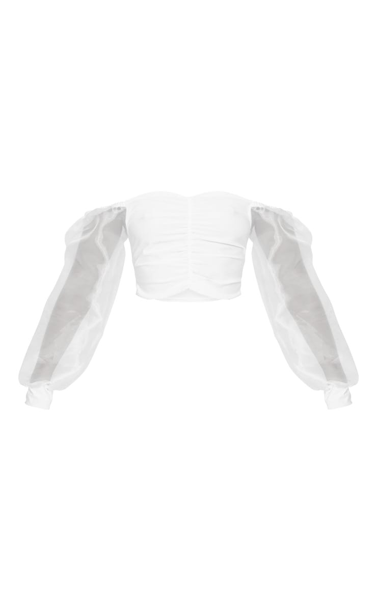 White Slinky Sheer Organza Puff Sleeve Bardot Crop Top 6