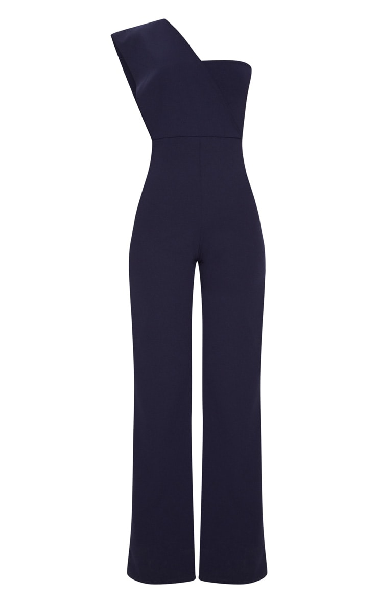 Navy Drape One Shoulder Jumpsuit 3