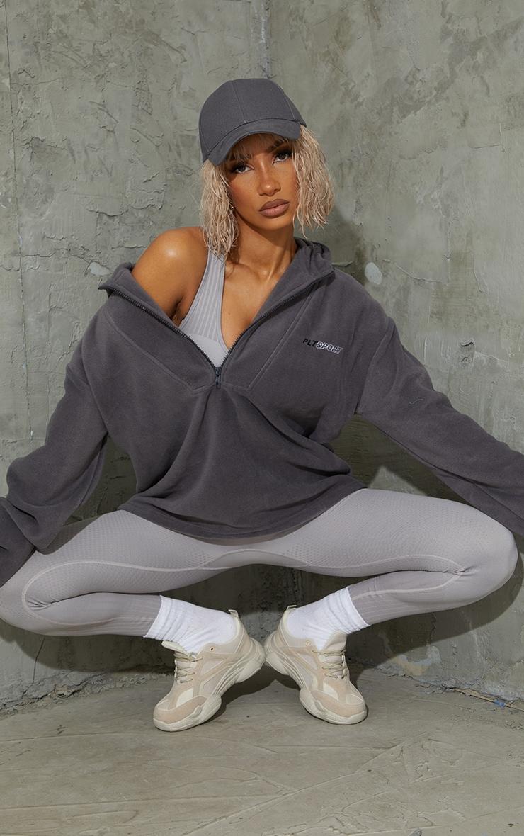Charcoal Half Zip Hooded Fleece 1