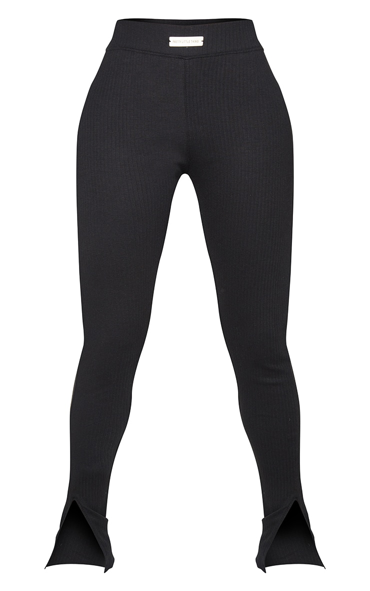 PRETTYLITTLETHING Shape Black Rib Badge Detail Ruched Bum Leggings 5