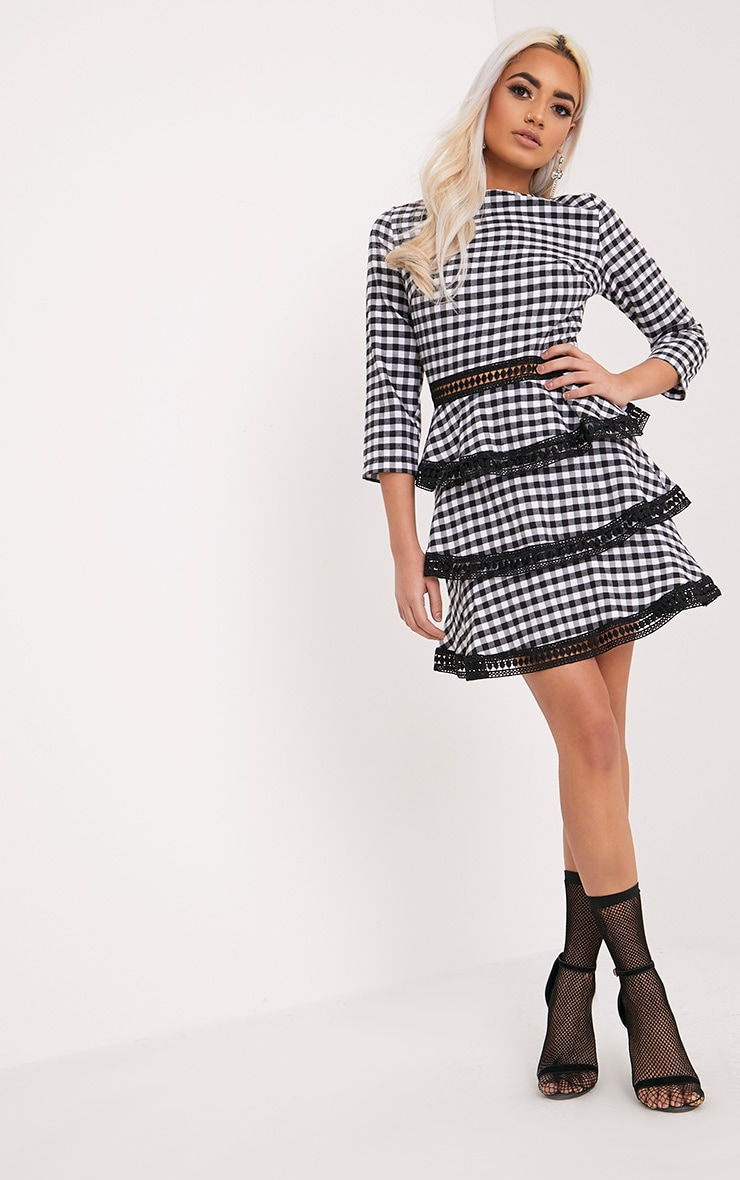 Teressa Gingham Lace Trim Mini Dress 4
