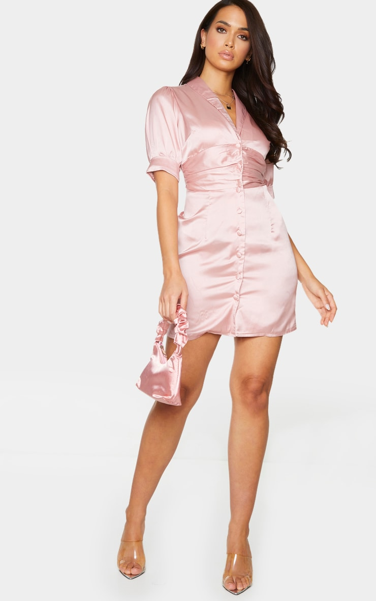 Dusty Pink Satin Lapel Puff Sleeve Button Front Bodycon Dress 3