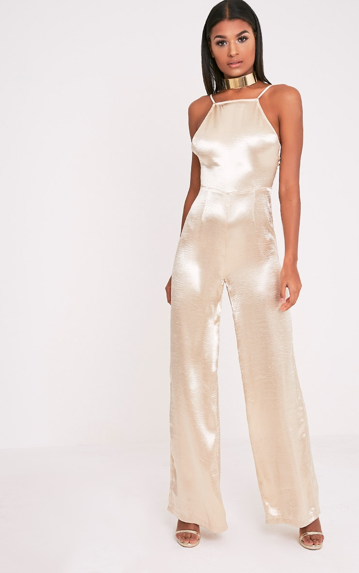 Daliah Gold Hammered Satin 90's Neck Wide Leg Jumpsuit 1