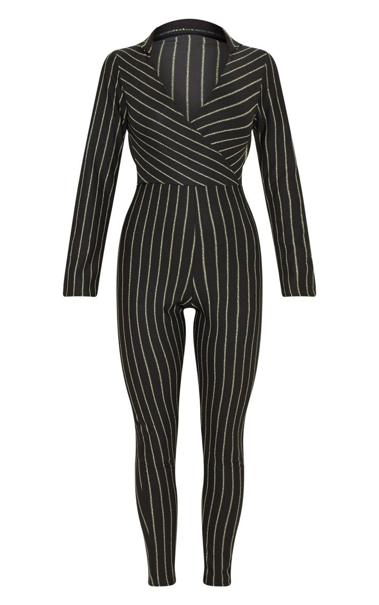 Black Stripe Collar Detail Plunge Slim Leg Jumpsuit 3