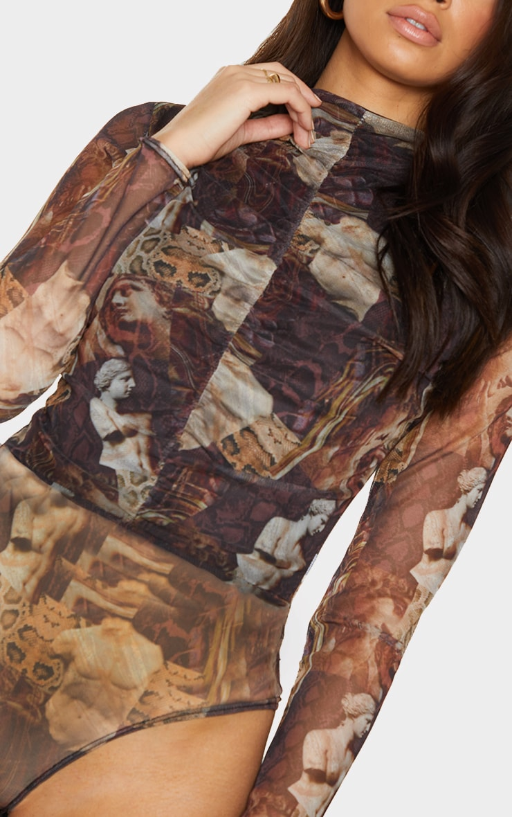 Brown Animal Renaissance Printed Mesh Ruched Front Long Sleeve Bodysuit 4