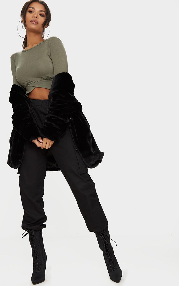 Basic Khaki 3/4 Sleeve Crop Top 1