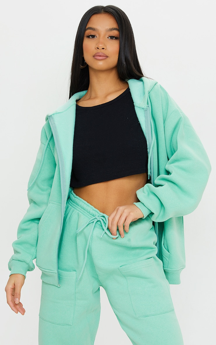 Petite Green Extreme Oversized Pocket Front Zip Through Hoodie 1