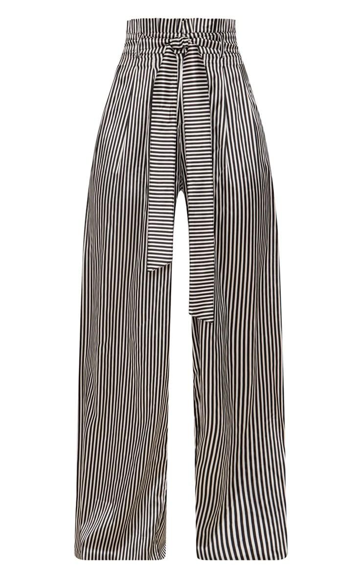 Monochrome Satin Stripe Paperbag Wide Leg Trousers 3