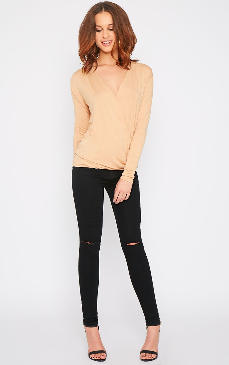Alaia Camel Long Sleeve Wrap Top  5
