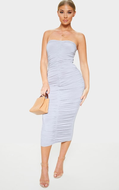 7d56467c56 Grey Extreme Ruched Bandeau Midi Dress