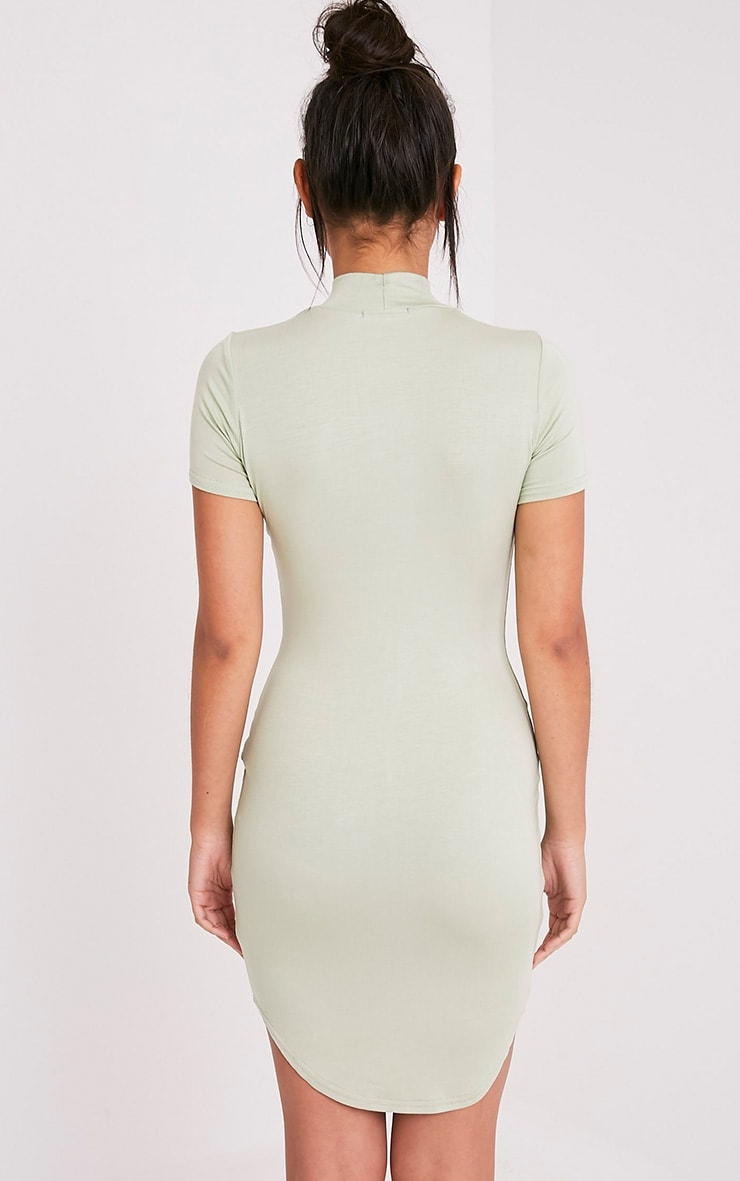 Alby Sage Green Cap Sleeve Curve Hem High Neck Dress 2