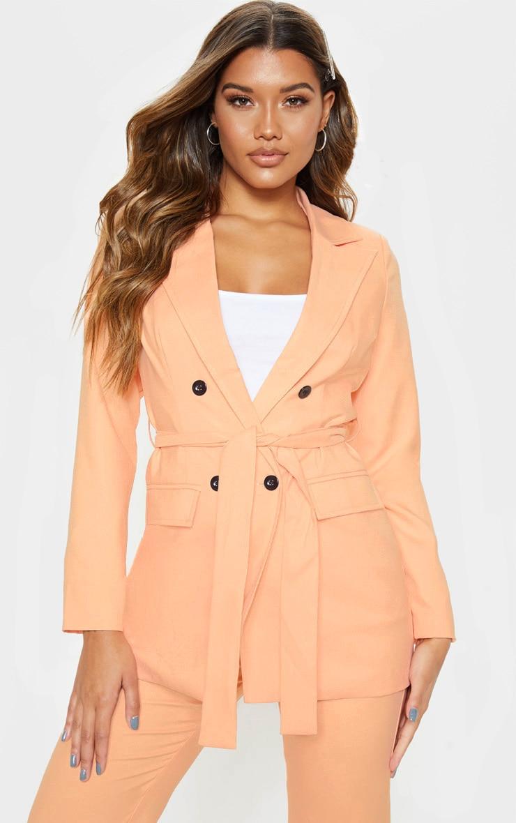 Peach Belted Longline Woven Blazer    4
