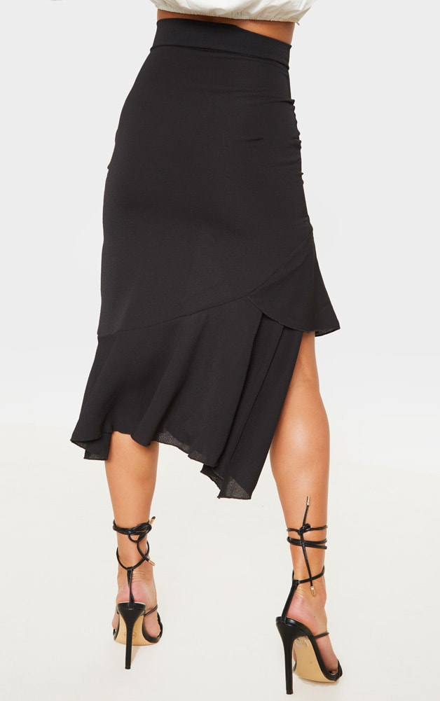 Petite Black Ruffle Detail Midi Skirt  4