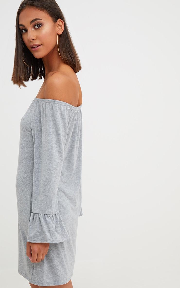 Grey Marl Jersey Bardot Long Sleeve Shift Dress 2