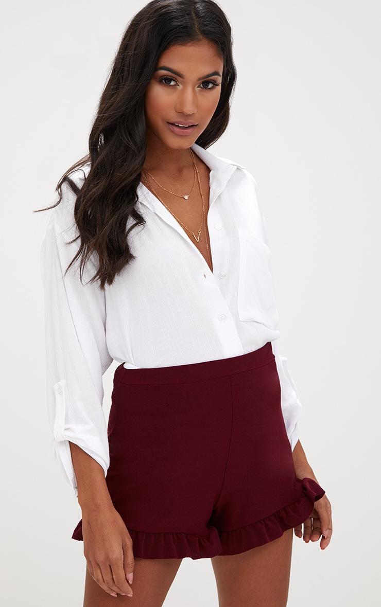 Burgundy Frill Hem Shorts 1