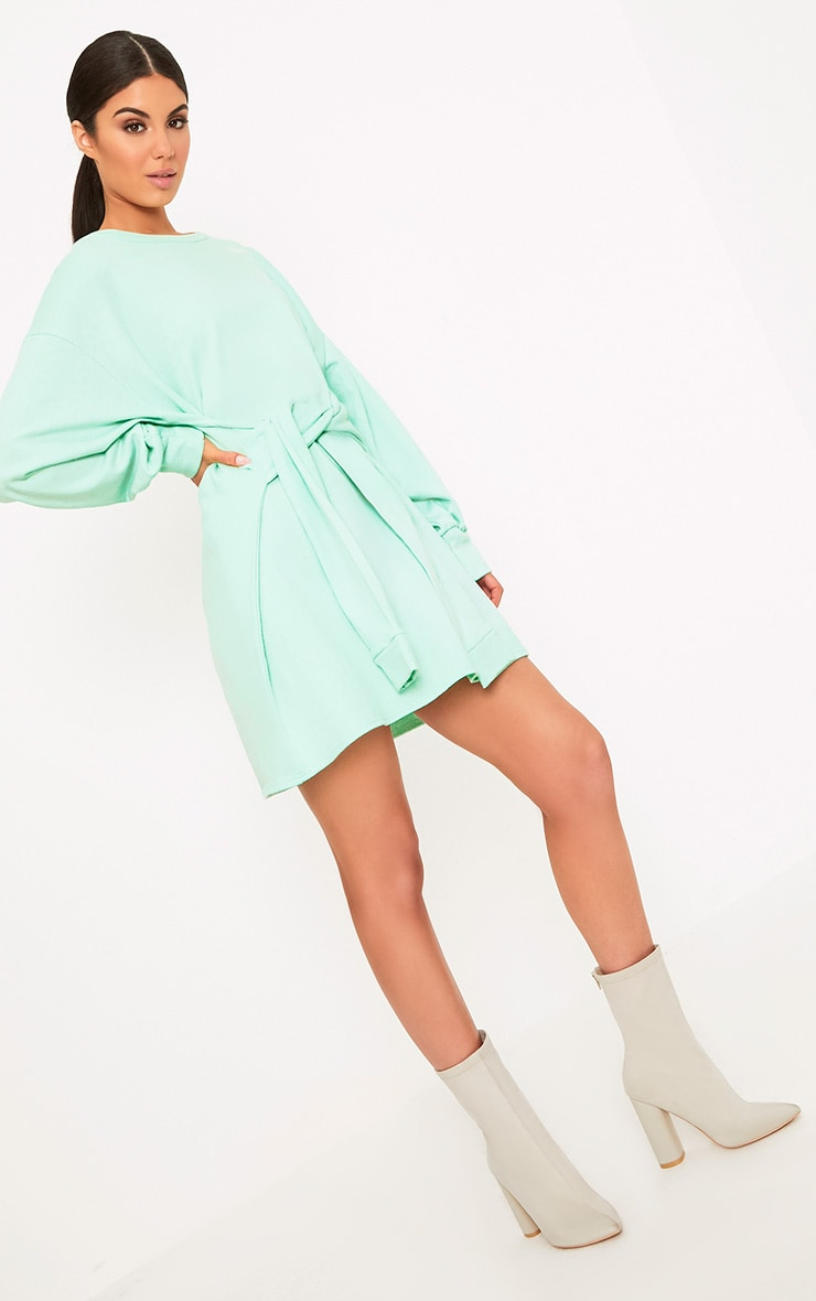 Kareena Mint Tie Waist Sweater Dress 2