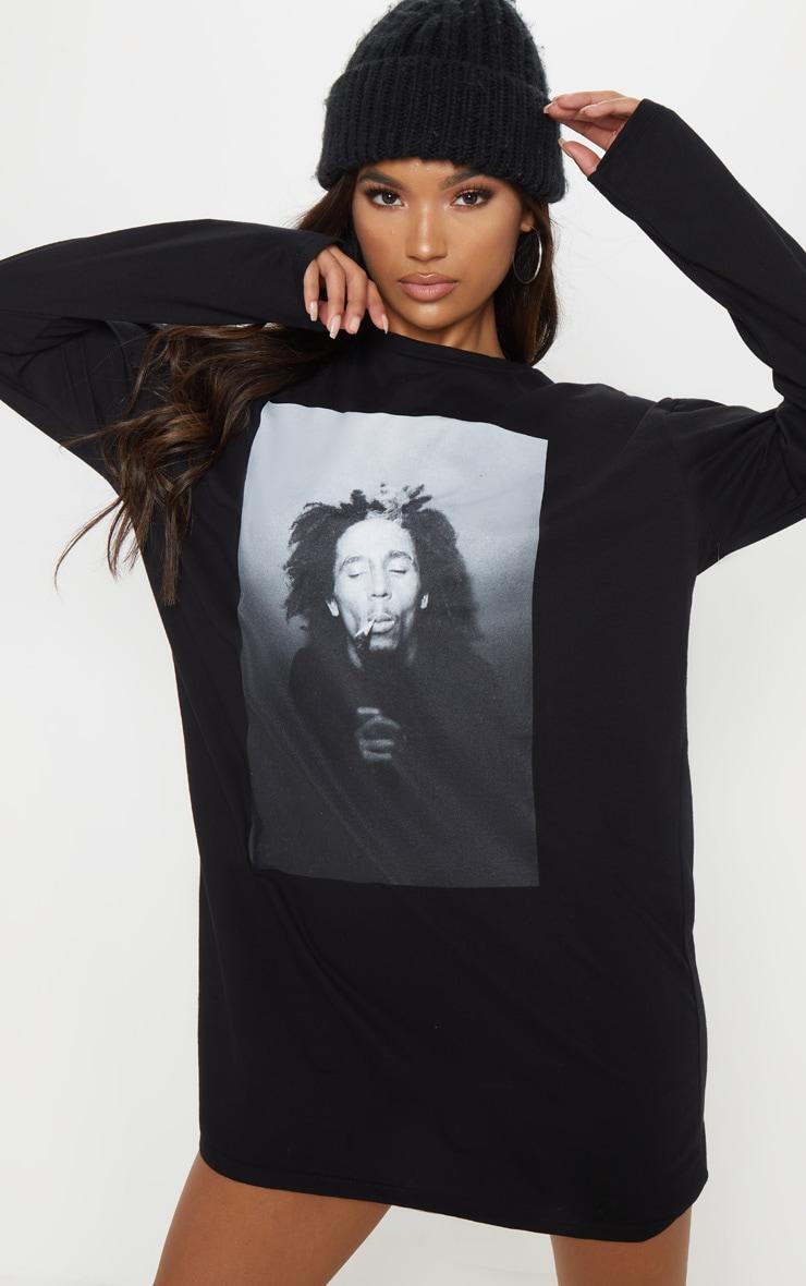 Bob Marley Slogan Black Oversized Long Sleeve T Shirt Dress 1