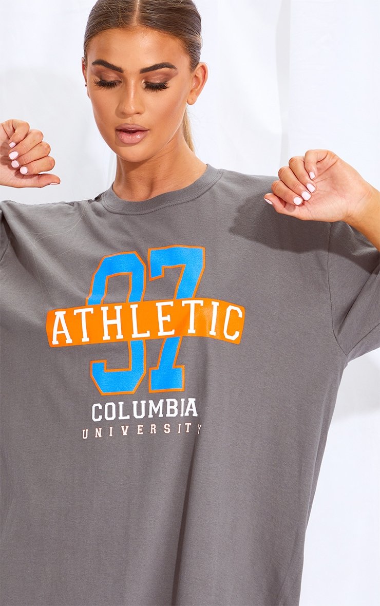 Charcoal & Orange 2 Pack Slogan & Plain T Shirt Dresses 5