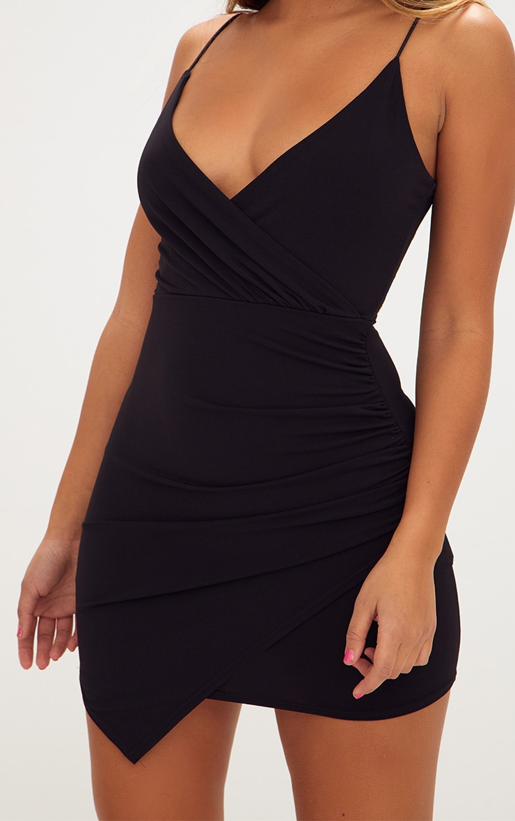 Black Slinky Wrap Strappy Bodycon Dress 5