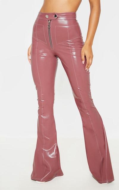 Mauve Vinyl Contrast Stitch Popper Front Flared Trouser